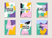 Set media banners with discount offer. Shopping background, label for business promotion. Can be used for website and mobile website banners, web design, posters, email and newsletter designs.