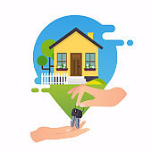 Concept of home rent. Concept for web banners, websites, infographics.