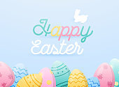 Happy Easter greeting card. Easter eggs composition.