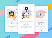 Onboarding screens user interface kit for mobile app templates concept of home rent. Concept for web banners, websites, infographics.