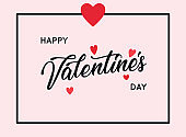 Happy valentines day greetings card design.Typography poster with handwritten calligraphy text. Vector illustration.