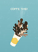 Coffee time banner. Vector illustration of disposable coffee cup with coffee splashes.