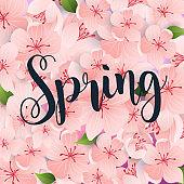 Spring. Spring leafs on the background. Flat design modern vector illustration concept.