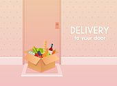 Food delivery to your door. Flat design modern vector illustration concept.