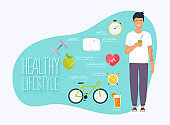 Concept of healthy lifestyle infographics. Young man lead a healthy lifestyle. Icons for web: fitness, healthy food and metrics. Flat design vector illustration. - Vector