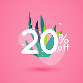 Sale discount icons with leafs design. Special offer price signs.