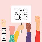 Woman right. Women resist symbol. Vector illustration.