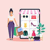 Woman do online shopping.  Flat design style modern vector illustration concept.