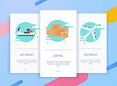Onboarding screens user interface kit for mobile app templates concept of logistics and delivery. Modern vector illustration walkthrough screens template for mobile apps.