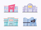 Set of shopping mall building exterior. Flat design style modern vector illustration concept.