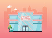 Shopping mall building exterior. Flat design style modern vector illustration concept.