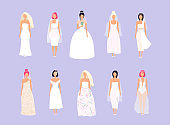 Set of women in wedding dresses in different styles. Vector illustration.