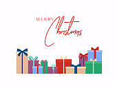 Merry Christmas vector text Calligraphic Lettering design card template. Gift boxes bunch. Isolated on white.