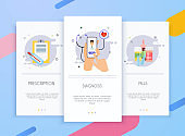 Onboarding screens user interface kit for mobile app templates concept of medicine. Medic and healthcare vector flat banners.