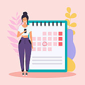 Woman with the phone have a calendar plan. Flat design modern vector illustration concept.