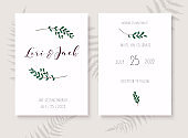 Wedding invitation cards with gold design. Save the date. Wedding timeline. Vector illustration.