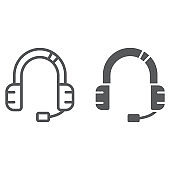 Customer service line and glyph icon, support and service, headset sign, vector graphics, a linear pattern on a white background.