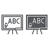 School blackboard line and glyph icon, school and classroom, teaching board sign, vector graphics, a linear pattern on a white background.