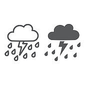 Thunderstorm with rain line and glyph icon, weather and forecast, thunder sign, vector graphics, a linear pattern on a white background.
