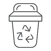 Garbage thin line icon, ecology and trash, bin sign, vector graphics, a linear pattern on a white background.