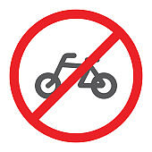No bicycle glyph icon, prohibited and regulation, no cycle sign, vector graphics, a solid pattern on a white background.