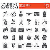 Valentine s day glyph icon set, wedding day symbols collection, vector sketches, logo illustrations, love signs solid pictograms package isolated on white background, eps 10.
