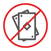 No gambling line icon, prohibited and forbidden, no playing cards sign, vector graphics, a linear pattern on a white background.
