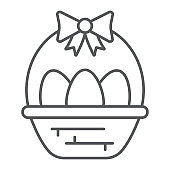 Easter eggs in basket thin line icon, decoration and easter, easter hamper sign, vector graphics, a linear pattern on a white background.