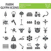 Farm glyph icon set, agriculture symbols collection, vector sketches, logo illustrations, gardening signs solid pictograms package isolated on white background.