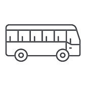 Bus thin line icon, transport and transportation, traffic sign, vector graphics, a linear pattern on a white background.