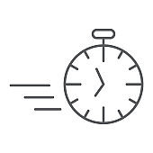 Fast stopwatch thin line icon, time and speed, timer sign, vector graphics, a linear pattern on a white background.