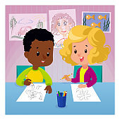 Children draw at the table with colored pencils. Drawing lesson with boy and girl cartoon vector illustration concept. Flat style graphic design. Cute kids learning at the drawing-room.