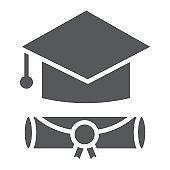 Graduation cap glyph icon, graduate and knowledge, academic hat sign, vector graphics, a solid pattern on a white background.