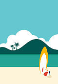 Summer holiday on the beach scenery with surfboard minimal flat design
