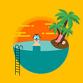 Summer holiday decorative with sunset beach scenery flat design style