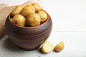Boiled Young Potatoes in ceramic deep plate