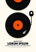 Music festival poster modern vintage retro style
