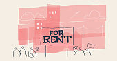 For rent conceptual doodle drawing, urban billboard sign. Housing market rental flats.