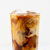 closeup of iced coffee with milk