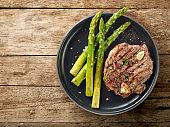 freshly grilled steak and asparagus