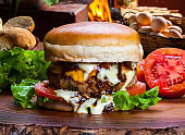 Homemade gourmet burger with delicious fresh ingredients