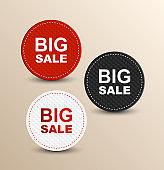 BIG SALE color banners. Black, red and white colored special offer icons.