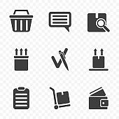 A set of icons from the order to the moment of leaving feedback after receiving it. Isolated vector on transparent background.