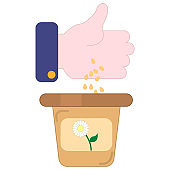 flat icon of human hand throwing flower seeds into the pot isolated