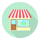 flat icon store with a sign on the window open isolated