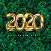Realistic Happy New 2020 Year wreath frame. Vector festive background with pine branches and 2020 text for invitation, greeting card and banner.