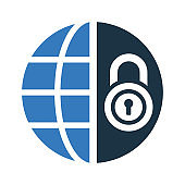 Internet safety, network protection, website security icon
