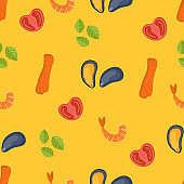 Seamless food pattern. Flat food seamless pattern. Flat food. Vector illustration.