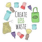 Zero Waste Concept. Hand drawn elements of zero waste life. Zero waste concept card. Good for posters, banners, web design, cards. Vector illustration.