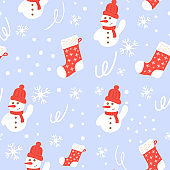 Seamless pattern snowman and christmas stocking.